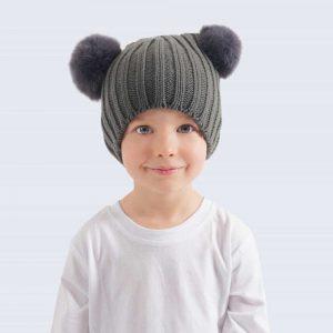Tiny Tots Grey Double Pom Pom Hat