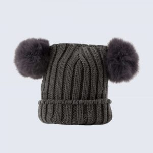 Tiny Tots Grey Double Pom Pom Hat