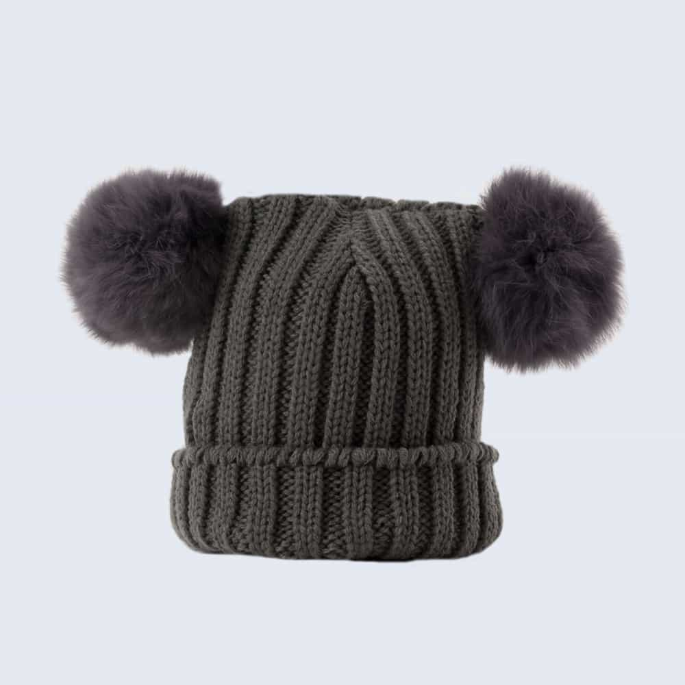 13595878146 Tiny Tots Grey Double Pom Pom Hat » Amelia Jane London