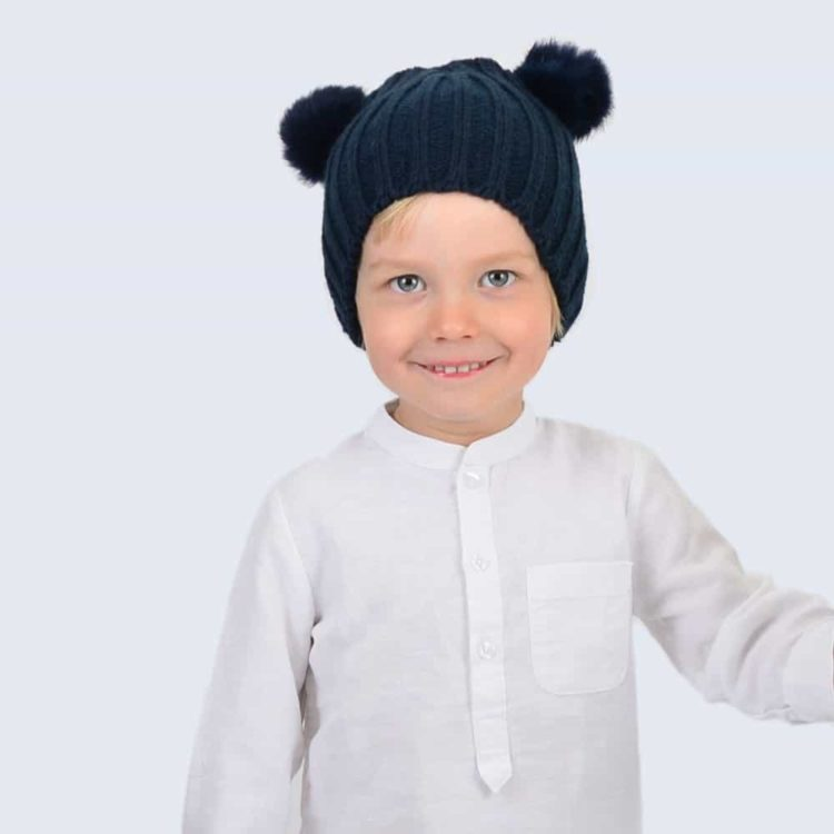 Tiny Tots Navy Double Pom Pom Hat