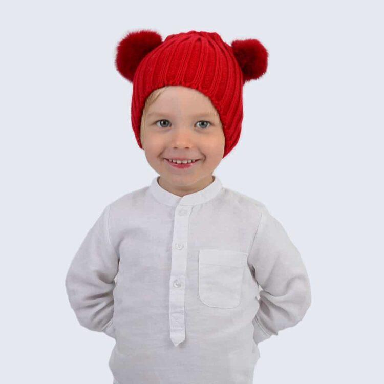 Tiny Tots Scarlet Double Pom Pom Hat