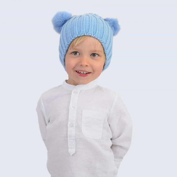 Tiny Tots Sky Blue Double Pom Pom Hat » Amelia Jane London 7953d188ec5