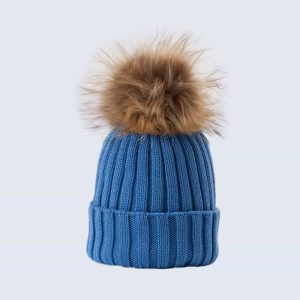 Merino Wool Faux Fur Pom Pom Hat Alice Blue