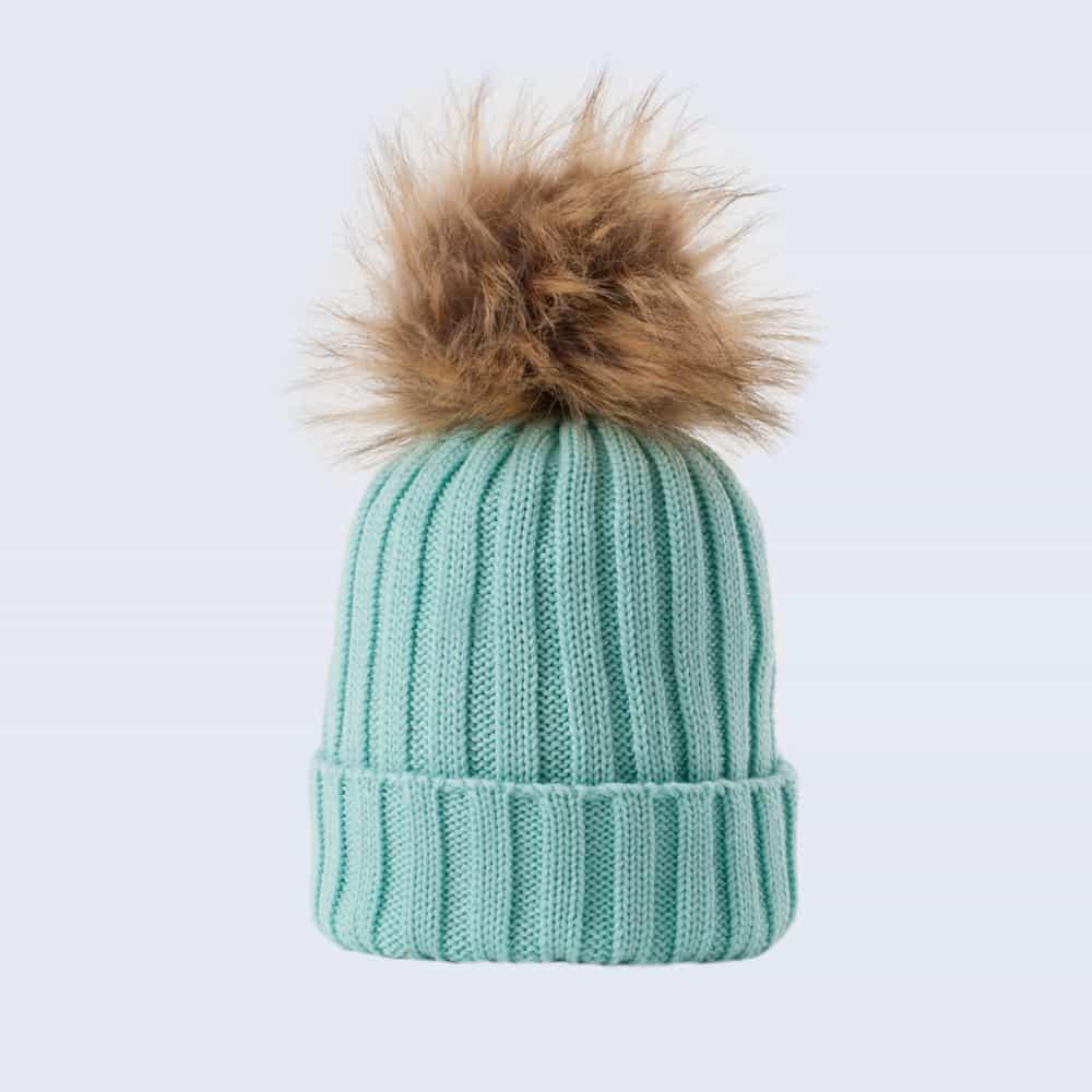 Merino Wool Faux Fur Pom Pom Hat Mermaid Spell