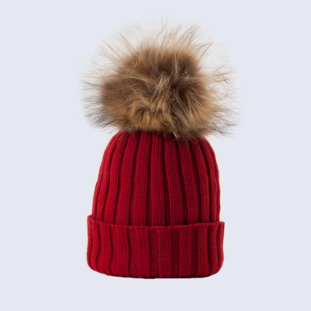 Merino Wool Faux Fur Pom Pom Hat Advent Red