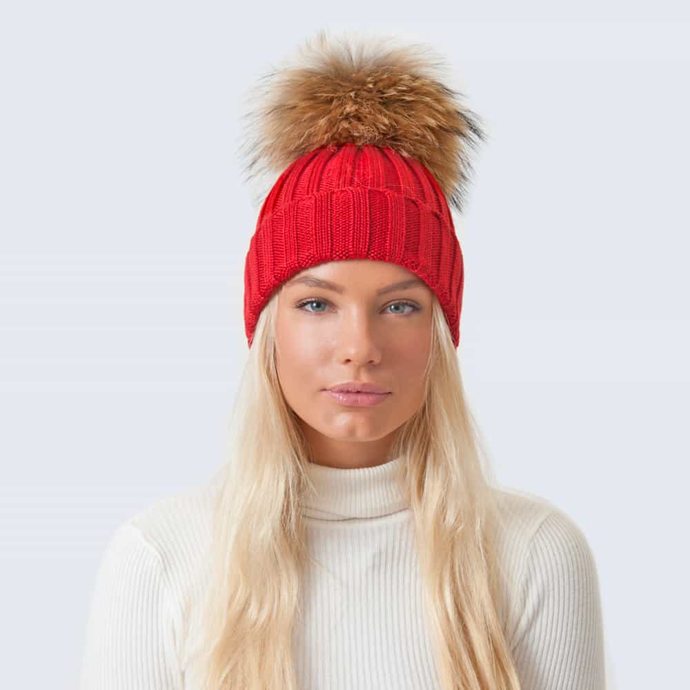 Merino Wool Fur Pom Pom Hat Advent Red