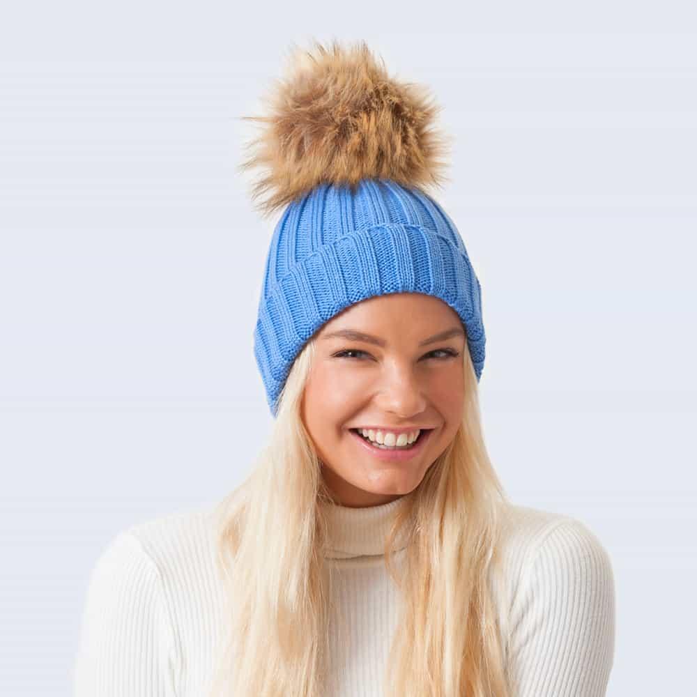 Merino Wool Faux Fur Pom Pom Hat Alice Blue