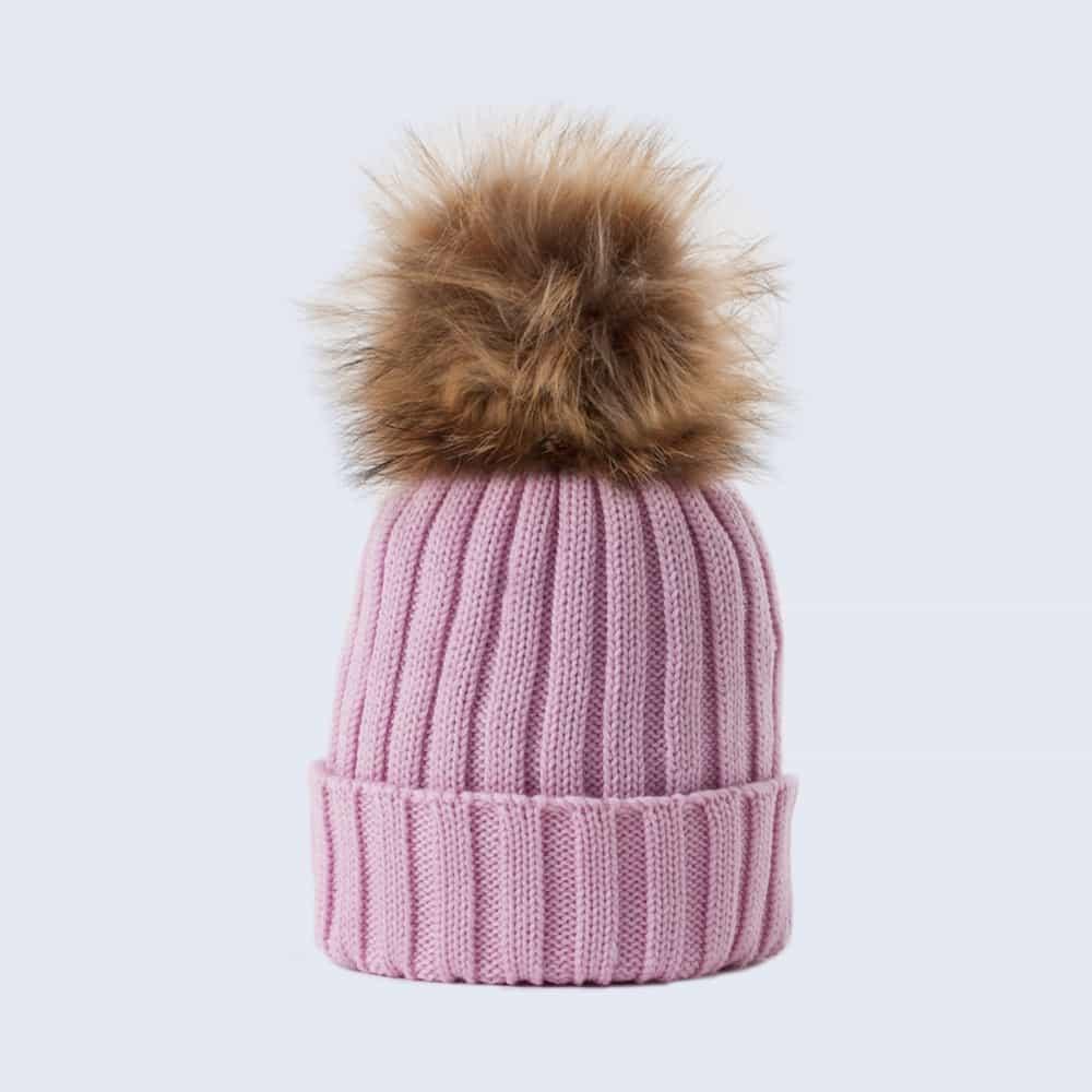 Merino Wool Faux Fur Pom Pom Hat Lilac Sky