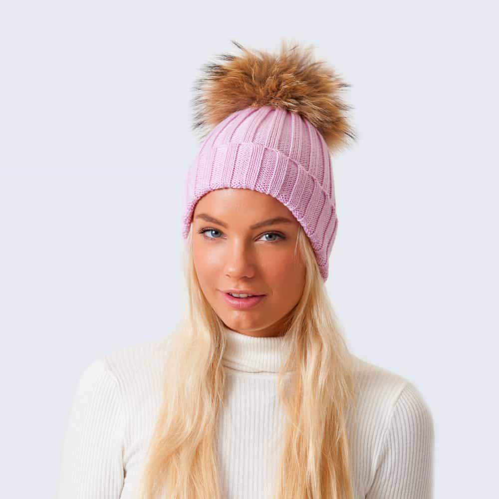 Merino Wool Fur Pom Pom Hat Lilac Sky