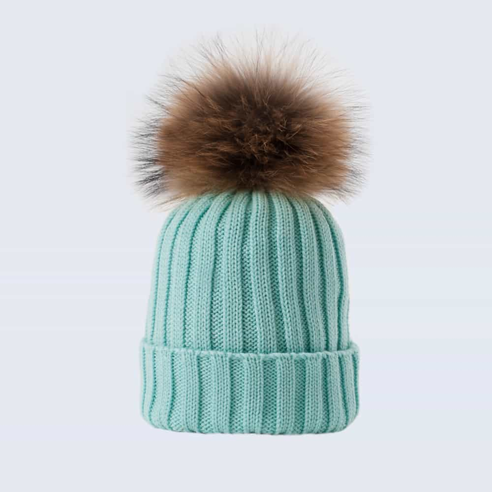 Merino Wool Fur Pom Pom Hat Mermaid Spell