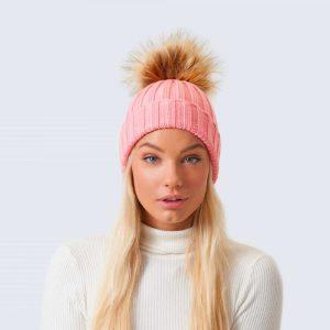 Merino Wool Faux Fur Pom Pom Hat Rose Petal