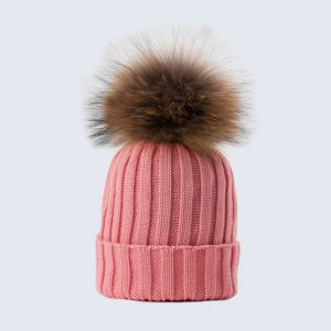 Merino Wool Fur Pom Pom Hat Rose Petal