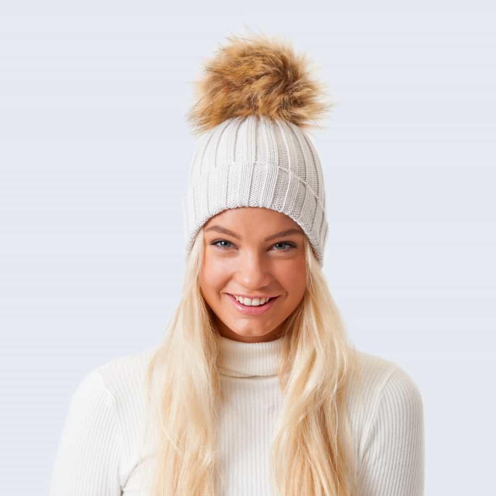 Merino Wool Faux Fur Pom Pom Hat Vanilla Latte