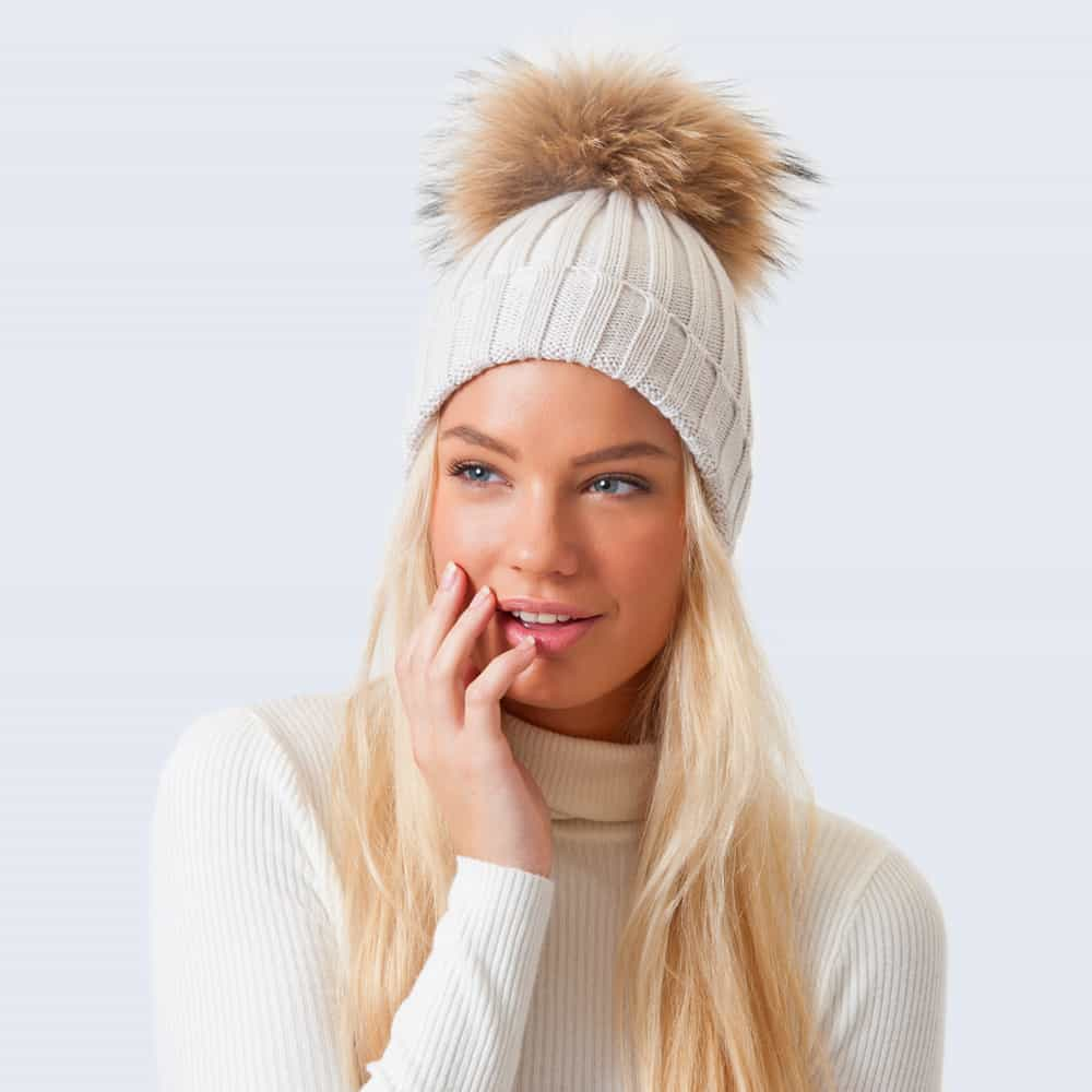 Merino Wool Fur Pom Pom Hat Vanilla Latte
