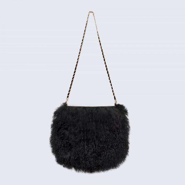 Mongolian Lambswool Bag Midnight Black
