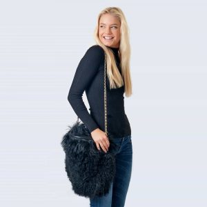 Mongolian Lambswool Bag Midnight Black