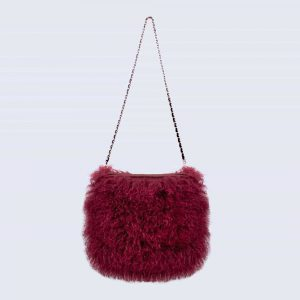 Mongolian Lambswool Bag Mulled Burgundy