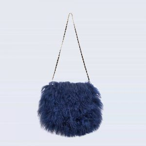 Mongolian Lambswool Bag Navy
