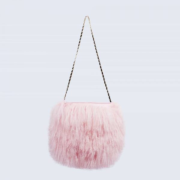 Mongolian Lambswool Bag Candy Pink