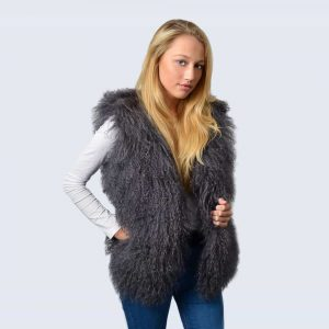 Clouded Grey Mongolian Lambswool Gilet