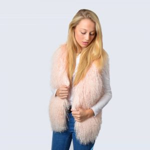 Candy Pink Mongolian Lambswool Gilet