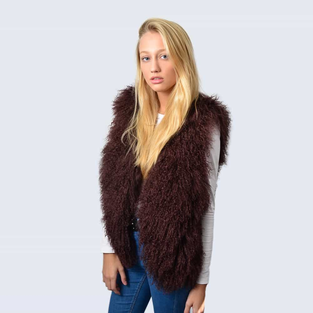 Chocolate brown Mongolian Lambswool Gilet