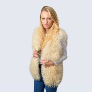 Natural Cream Mongolian Lambswool Gilet