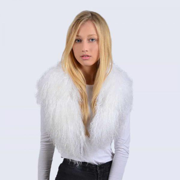 Alpine White Mongolian Lambswool Collar