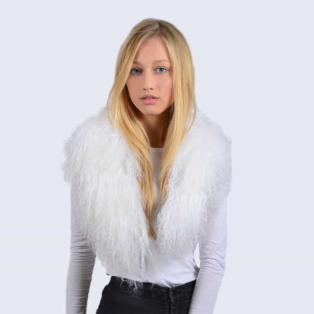 Alpine White Mongolian Lambswool Collar