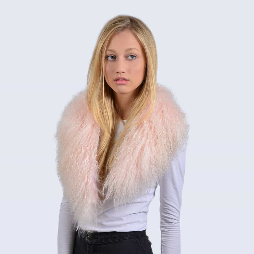 Candy Pink Mongolian Lambswool Collar