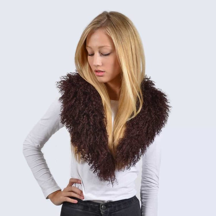 Chocolate Brown Mongolian Lambswool Collar
