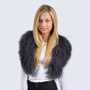 Clouded Grey Mongolian Lambswool Collar