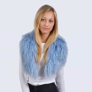 Sky Blue Mongolian Lambswool Collar