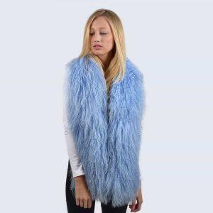 Sky Blue Mongolian Lambswool Scarf