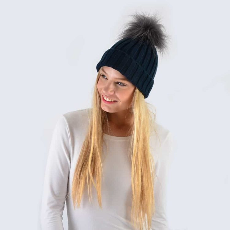 Navy Hat with Grey Faux Fur Pom Pom