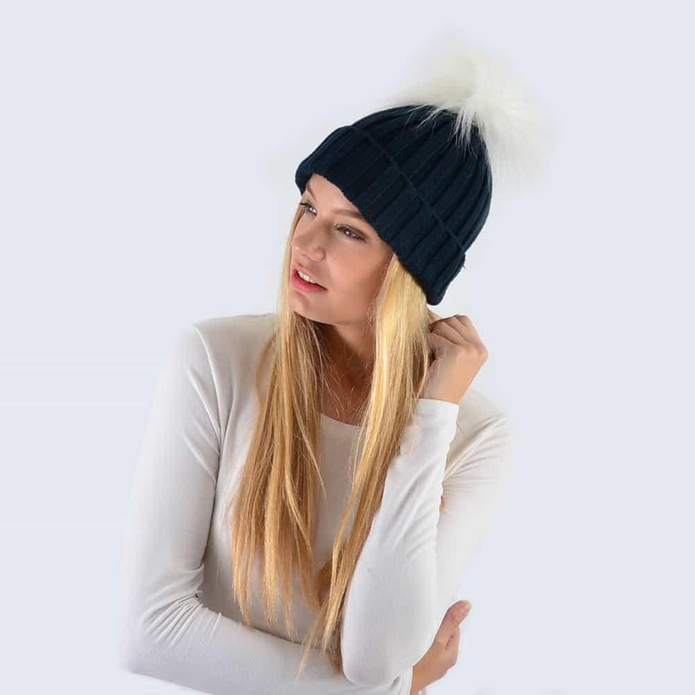Navy Hat with White Faux Fur Pom Pom