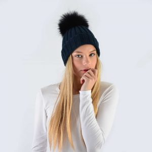 Navy Hat with Black Fur Pom Pom