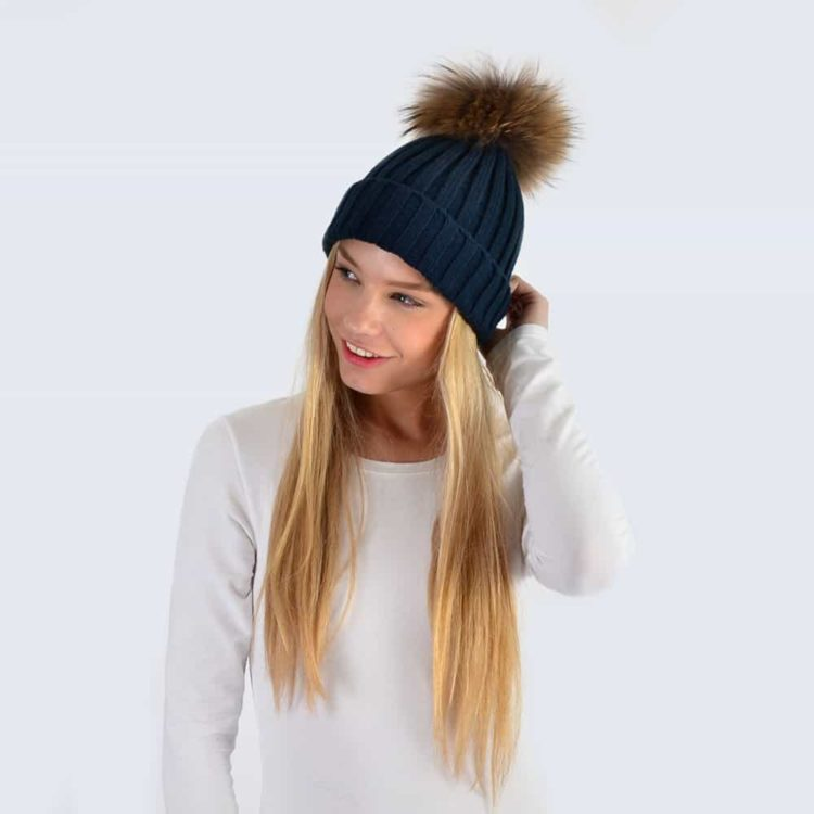 Navy Hat with Brown Fur Pom Pom