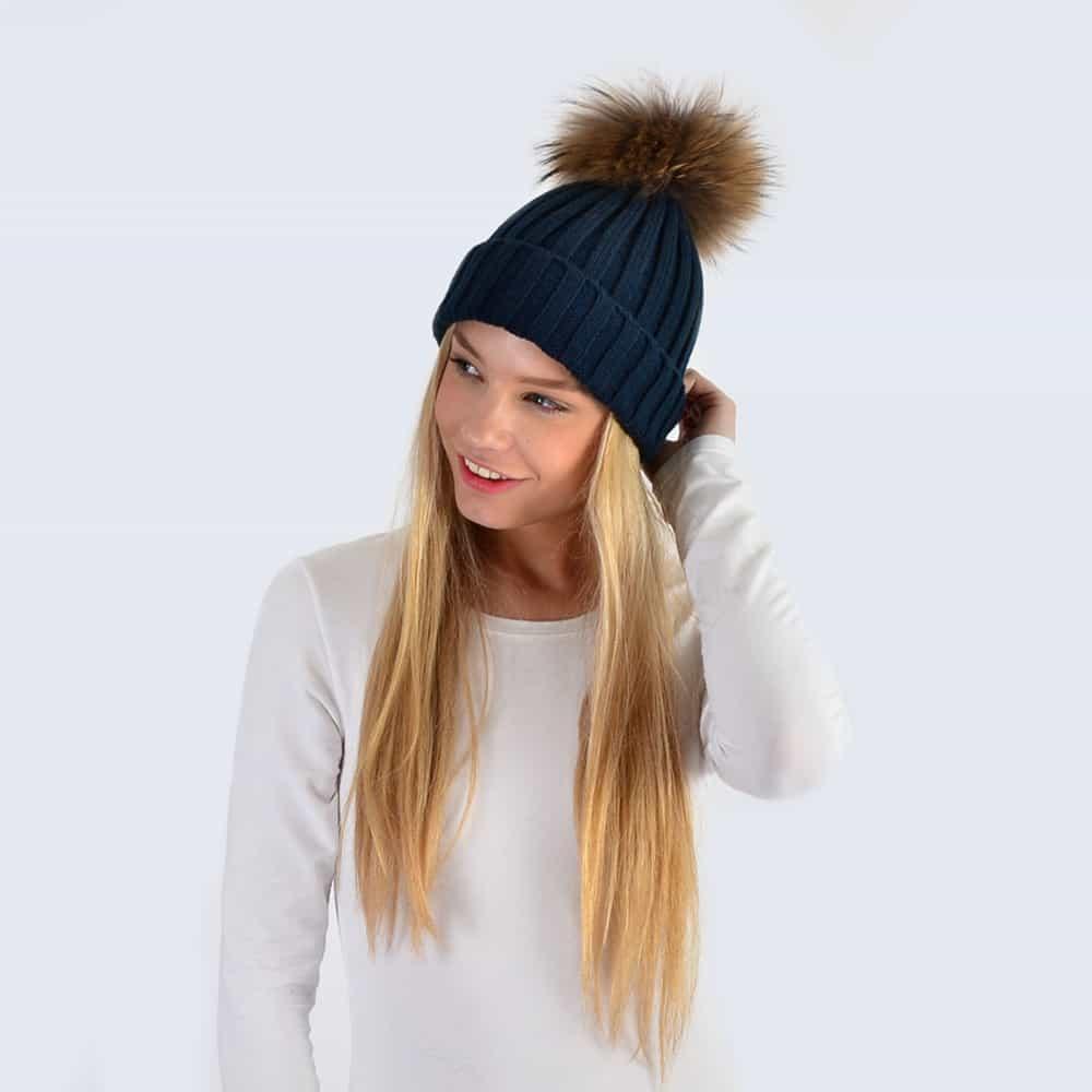 Navy Hat with Brown Fur Pom Pom