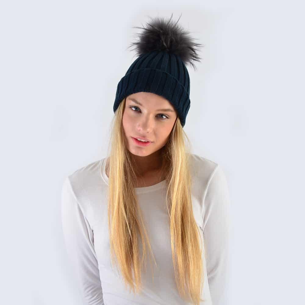 Navy Hat with Grey Fur Pom Pom