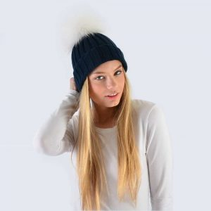 Navy Hat with White Fur Pom Pom