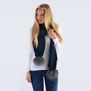 Navy Scarf with Grey Faux Fur Pom Poms