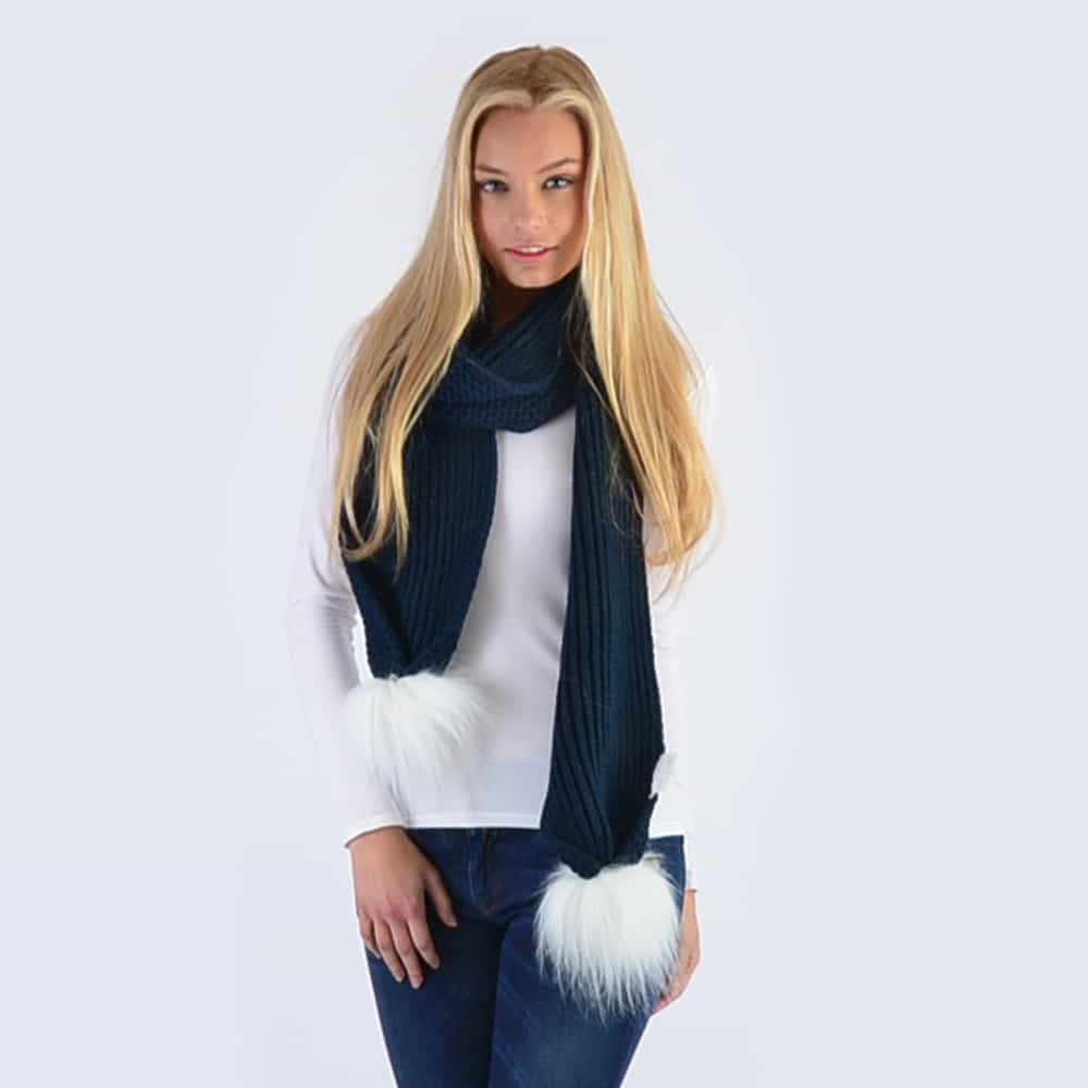 Navy Scarf with White Faux Fur Pom Poms