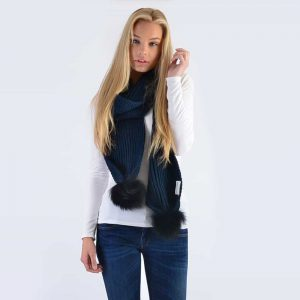 Navy Scarf with Black Fur Pom Poms