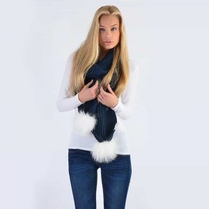 Navy Scarf with White Fur Pom Poms