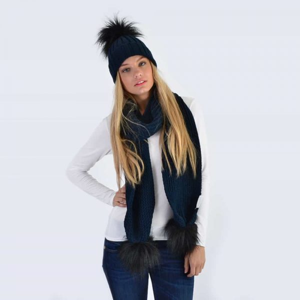 Navy Set with Black Faux Fur Pom Poms