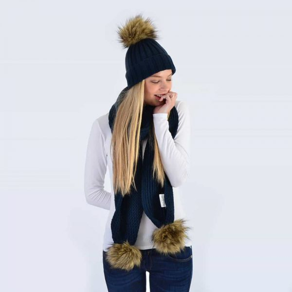 Navy Set with Brown Faux Fur Pom Poms