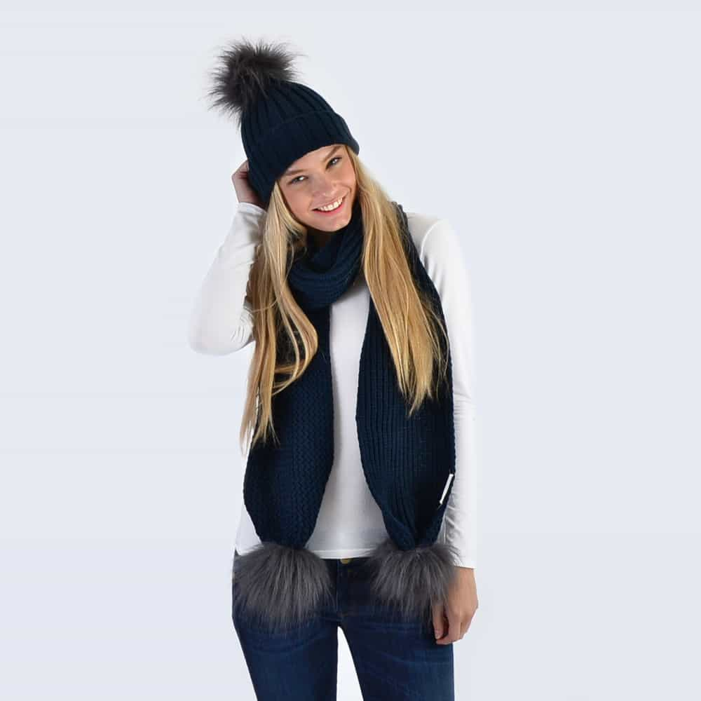 Navy Set with Grey Faux Fur Pom Poms
