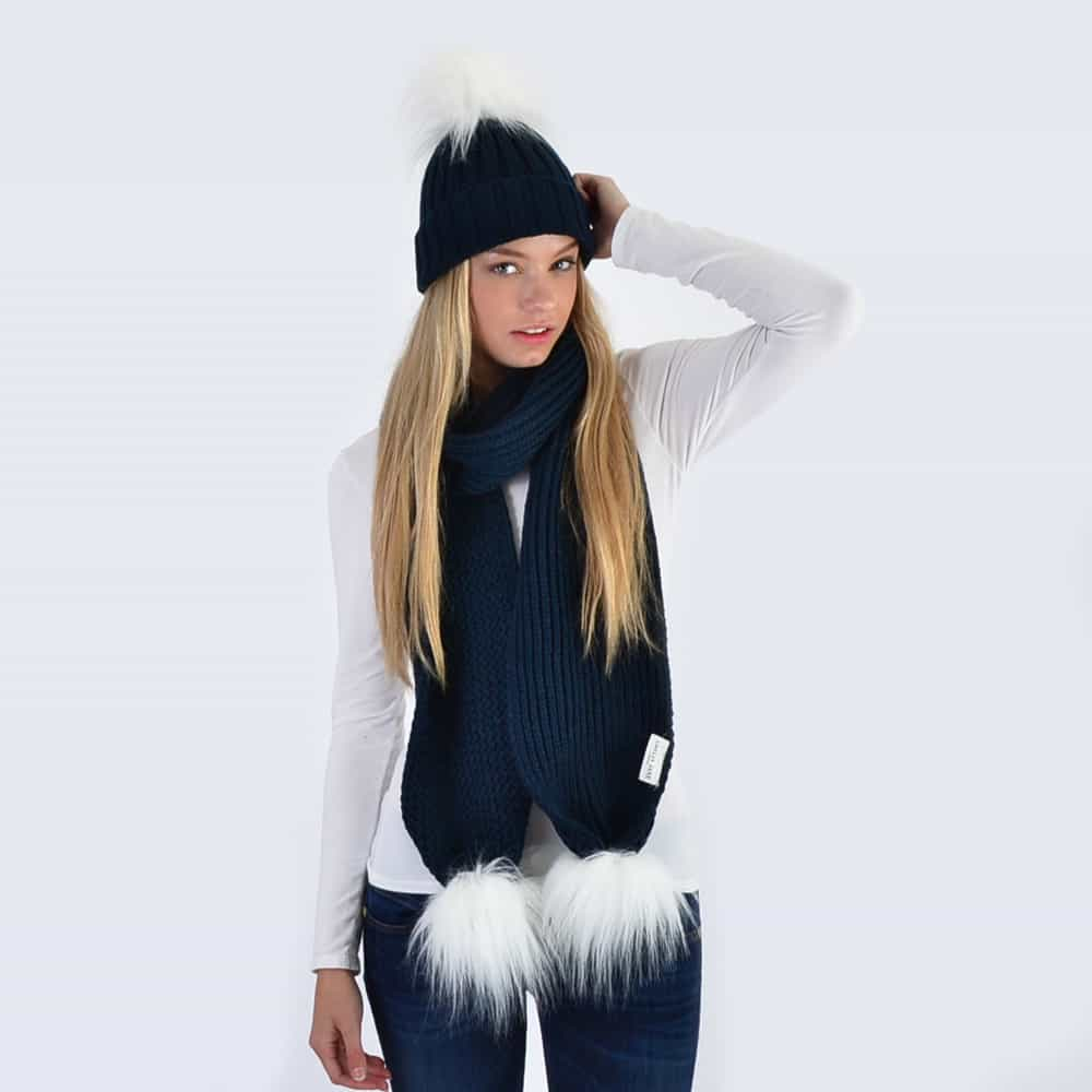 Navy Set with White Faux Fur Pom Poms