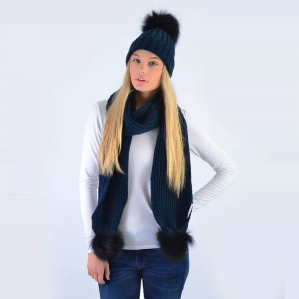 Navy Set with Black Fur Pom Poms